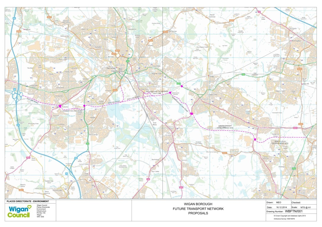 Wigan Future Transport Network Plans - new southern route allowing development of employment and housing sites within Wigan Borough