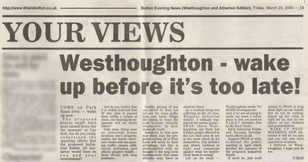 Bolton News Letter 24th March 2000: 'Westhoughton Wake Up Before It's Too Late'
